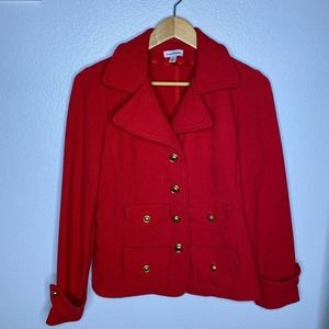 Joan Rivers Red Jacket w Gold Buttons Small
